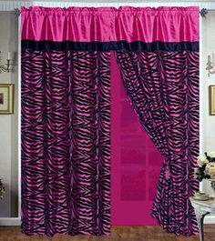 4 Pieces Faux Silk Hot Pink With Black Zebra Window Curtain Drape Set Sheer Backing