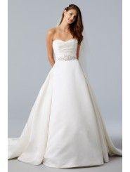 Satin Strapless Draped Bodice Ball Gown Wedding Dress