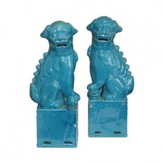 Sitting Foo Dog Figur, Blau (Porzellan) - Cani di Foo - Welcome Haar Design Diy Home Decor Rustic, Sculptures, Lion Sculpture, Foo Dog, Chinoiserie Chic, Décor Boho, Turquoise, Aqua, Teal