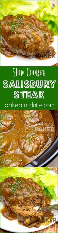 Salisbury steak is a great American comfort food and it cooks low and slow in your crock pot. The family will love this and so will you! #easy #recipes #slowcooker #crockpot