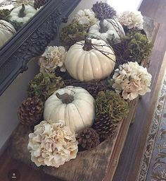 Who's getting excited for pumpkins, pinecones and cooler weather? I'm getting re… – Herbstdeko Hanukkah Decorations, Thanksgiving Decorations, Seasonal Decor, Holiday Decor, Fall Home Decor, Autumn Home, Decoration Table, Fall Table Centerpieces, Pumpkin Table Decorations
