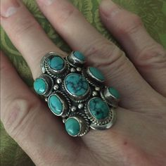Spotted while shopping on Poshmark: Sterling silver handcrafted turquoise ring! #poshmark #fashion #shopping #style #Jewelry
