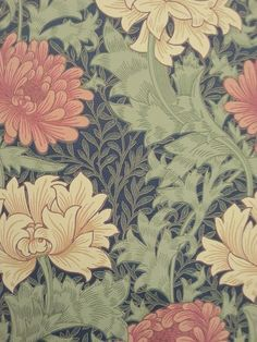 Chrysanthemum Indigo 212549 - Seinäruusu - Verkkokauppa William Morris Wallpaper, Morris Wallpapers, Textiles, Chrysanthemum, Wall Wallpaper, Creative Inspiration, Fabric Design, Print Ideas, Drawings