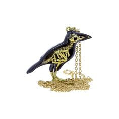 Enamel and brass crow skeleton pendant | Skull-themed gifts | Natural History Museum Online Shop