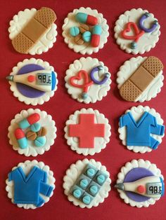 Excited to share this item from my shop: 12 Nurse Cupcake Toppers - Healthcare - Fondant - Medical - Doctor - Nursing - Hospital - Bandaid - Scrubs -Edible - Fondant Fondant Cupcakes, Nurse Cupcakes, Nurse Cookies, Fondant Toppers, Themed Cupcakes, Cupcake Cakes, Marshmallow Fondant, Valentine Cupcakes, Rose Cupcake