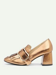 112b10b957 Product name: Buckle Design Metallic Block Heeled Shoes at SHEIN, Category:  Heels