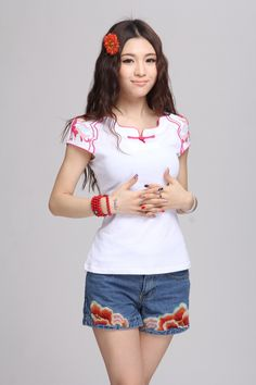 Women! Summer new national wind retro Pankou V neck short sleeved T shirt embroidered flowers cotton T shirt-inT-Shirts from Women's Clothing & Accessories on Aliexpress.com | Alibaba Group