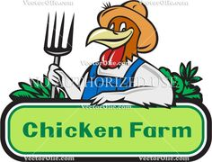 Chicken Farmer Pitchfork Vegetables Cartoon Cartoon Stock Illustration.  Illustration of a chicken farmer wearing overalls and hat holding pitchfork with vegetables in the background and the words text Chicken Farm viewed from front done in cartoon style. #illustration #ChickenFarmer