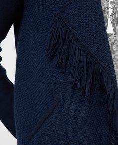 Fringed cardigan VASHINGTON - Colour MIDNIGHT BLUE
