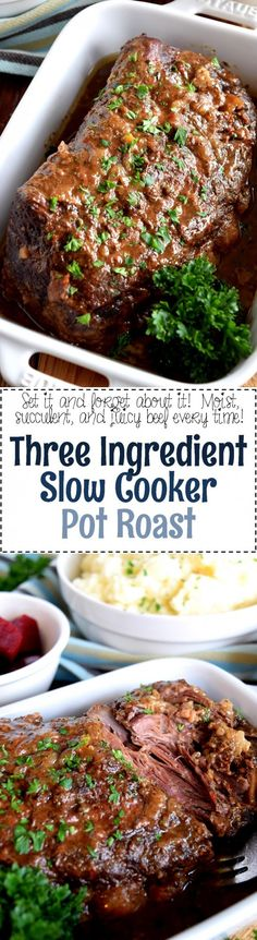 Three Ingredient Slow Cooker Pot Roast - Lord Byron's Kitchen
