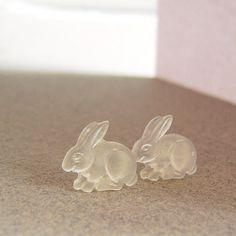 Frosted Rabbit Studs Matte Resin Bunny Earrings by LittlePinkBox, $5.00