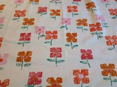 RARE VTG Sanderson  Flollipop  fabric material 50s 60s 70s daisy Mary Quant era