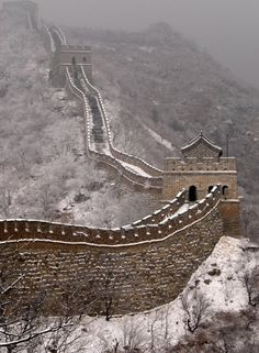 Great Wall of China during Snow fall