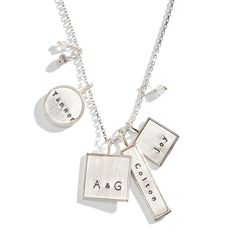 Personalized Jewelry Valley Girl Mixed Shape Personalized Necklace - The Valley Girl Mixed Shape Personalized Necklace is an eclectic mix of personalized charms available in rose gold, yellow gold or sterling silver rim. I Love Jewelry, Jewelry Box, Jewelry Necklaces, Jewelry Design, Jewlery, Three Sisters Jewelry, Gold Chains For Men, Valley Girls, Personalized Necklace