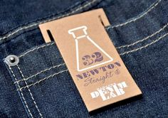 Barkers Denim Lab branding by 1976 branding. Adding extra tags could provide… Denim Branding, Fashion Branding, Price Tag Design, Stationary Branding, Denim Art, Swing Tags, Leather Label, Fashion Tag, Clothing Labels