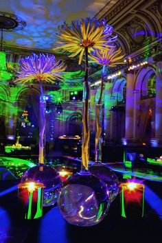 """Last November, Tantawan Bloom had one of the most unusual but creative Bar Mitzvah ever for Mitchell at the Plaza Hotel New York. We named it """"Graffiti Bar Stage Design, Event Design, Disco Licht, Modern Floral Arrangements, Flower Arrangement, Decoration Evenementielle, Pompe A Essence, Nightclub Design, Glow Party"""