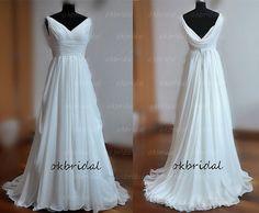 beach wedding dress beach wedding gown chiffon wedding di okbridal, $192.00