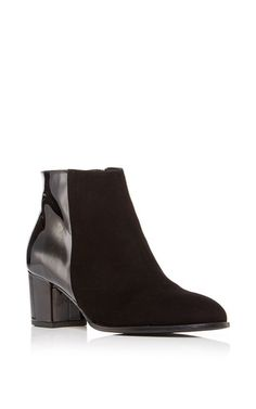 Ana Bootie In Black Suede And Patent Leather by CARMELINAS for Preorder on Moda Operandi