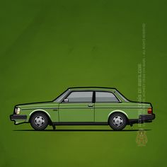 "Volvo 242 Brick Coupe 200 Series Green – llustration of a red Volvo 245 / 240 Series ""Brick"" two door sedan coupe. Green paint, stock steel wheels, NA bumpers. Copyright 2015 Tom Mayer, Monkey Crisis On Mars - All Rights Reserved"
