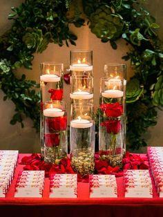 Wedding Vase Centerpieces, Floating Candle Centerpieces, Elegant Centerpieces, Centerpiece Ideas, Christmas Centerpieces, Graduation Centerpiece, Centerpiece Flowers, Hanging Candles, Flower Vases
