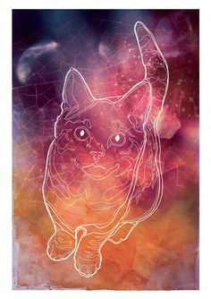 Cat Constellation starry space galaxy custom horoscope  by Katlix, $29.00