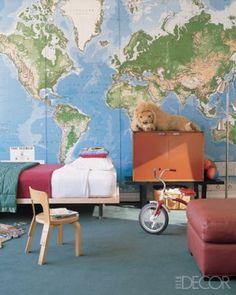 Map wall art featured in Elle Decor.  Home of Julianne Moore.