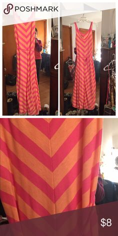 "XS pink and peach stripe Joe Boxer maxi dress Joe boxer extra small pink and peach stripe maxi dress with braided belt.  Wore this  in Miami as a bathing suit cover-up, over a pink maxi dress and alone with nude colored underwear. Fabric is Kinda sheer.  For short girls only I am 5'2"" and I have about two inches clearance.  Perfect when you don't want your dress to drag! no flaws that I can see .  I do have cats and dogs this is a smoke free home. Dresses Maxi"