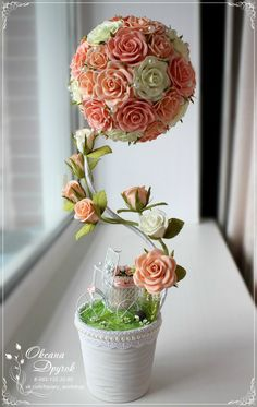 Discover thousands of images about Ksyusha Druchok Flower Boxes, Diy Flowers, Flower Decorations, Paper Flowers, Wedding Decorations, Home Crafts, Diy And Crafts, Flower Ball, Flowering Trees