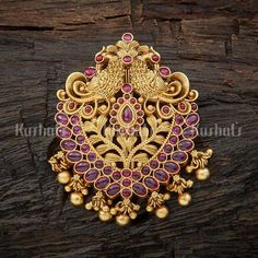 Designer antique hair brooch studded with synthetic ruby stones plated with gold polish! Pendant Jewelry, Jewelry Art, Gold Pendant, Antique Jewelry, Gold Jewelry, Gold Necklace, Fashion Jewellery Online, Latest Jewellery, Wedding Hair Brooch
