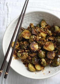 [ Recipe: Brussels Sprouts with Spicy Lemongrass Sauce ] Made with: brussels sprouts, olive oil, grape seed oil, garlic, shallot, lemongrass, red chili flakes, fish sauce, raw sugar, and lime juice (fresh squeezed) ~ from Season With Spice