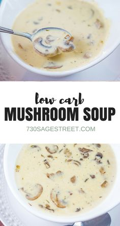 Low Carb Cream of Mushroom Soup Recipe - Keto Vegetarian - Ideas of Keto Vegetarian - This homemade cream of mushroom soup is easy to make and delicious. Its also low carb so its perfect for keto and other lower carb diets. Keto Mushrooms, Creamed Mushrooms, Stuffed Mushrooms, Ketogenic Recipes, Low Carb Recipes, Diet Recipes, Crockpot Recipes, Dessert Recipes, Low Carb Soups