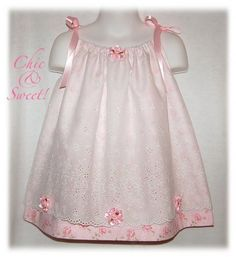 This is without question an Ohhh and Ahhhs kinda dress. This cute creation, styled in the pillowcase dress design has two layers of fabric. The unde Toddler Dress, Toddler Outfits, Baby Dress, Kids Outfits, Pillowcase Dress Pattern, Pillowcase Dresses, Little Girl Dresses, Girls Dresses, Smocks