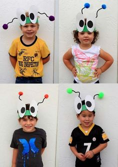 bug hats--super cute! I could use this idea for costumes for a PTO program.: