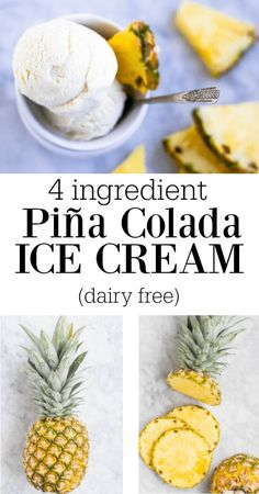 4 Ingredient Piña Colada Ice Cream (dairy free) - Savory Lotus This Piña Colada Ice Cream is my dairy free version of coconut pineapple heaven. You won't believe it's only 4 ingredients and just a few minutes of prep time. Paleo Ice Cream, Dairy Free Ice Cream, Ice Cream Desserts, Homemade Ice Cream, Frozen Desserts, Ice Cream Recipes, Ice Cream Machine Recipes, Vitamix Ice Cream, Healthy Recipes