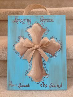 Cross Painting with Amazing Grace by 2girlswhomakecrosses on Etsy