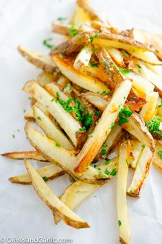 Baked French Fries with Roasted Garlic Butter