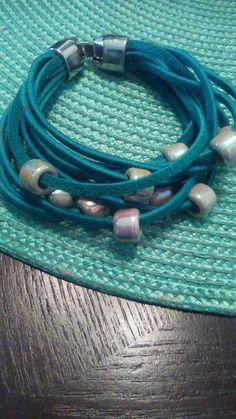 a2ed6ef483d Blue Suede Pony Bead Bracelet
