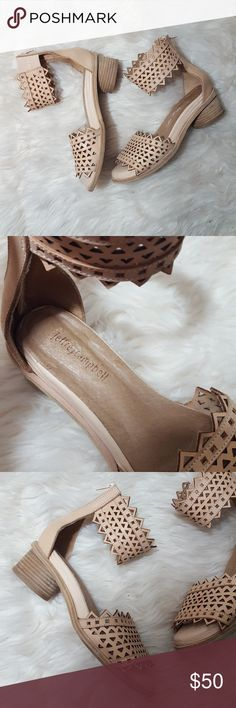 Jeffery Campbell Laser Cut Ankle Heels Gently preloved, adorable shoes. Minor stuffing as pictured. No trades! Jeffrey Campbell Shoes Flats & Loafers