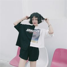 原宿系配色Tシャツ非対称 レディース カラフル ダンス 衣装 派手 カワ  個性的 かわいい
