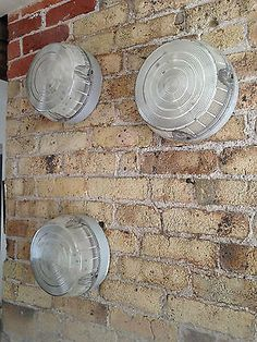 3 x reclaimed / vintage J&G Coughtrie Glasgow Large, Round Bulkhead Wall Lights