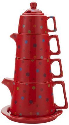 Classic Coffee & Tea Tower Tea Set, Red Polka Dot
