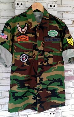 Vintage Camouflage Army Jacket with Patches / by KodChaPhorn, $65.00