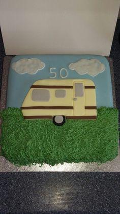 Caravan 50th birthday cake 50th Birthday, Birthday Cake, Campers, Caravan, Wooden Toys, Trailers, Cute, Crafts, Comic