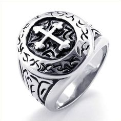 KONOV Jewelry Classic Vintage Cross Mens Ring, Stainless Steel Band, Silver, Size 9 - http://www.spiritualgemstonejewelry.com/konov-jewelry-classic-vintage-cross-mens-ring-stainless-steel-band-silver-size-9/ - cheap womens fashion jewelry, women's jewelry, womens jewelry box