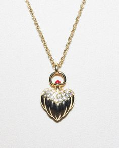 Joan Rivers Heart Necklace with Crystals Gold by SCLadyDiJewelry