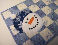 Snowman Placemat Snack Mat Mug Rug Winter by atthebrightspot, $16.00
