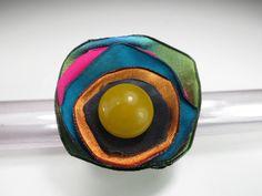 anello giallo,anello fiore,anello perla gialla,perla vintage,anello bohemien,anello floreale,anello stoffa,fiore boho,upcycled jewelry a5 di decorandom su Etsy