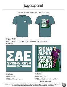 JCG Apparel : Custom Printed Apparel : Sigma Alpha Epsilon Rush T-Shirt #sigmaalphaepsilon #sae #rush #golf