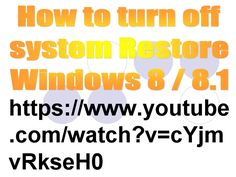 How to turn off system Restore Windows 8 / 8.1 (Cara Mematikan System Restore Windows 8 / 8.1)