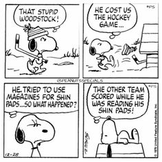 First appearance: December 28th, 1979 #peanutsspecials #ps #pnts #schulz #snoopy #woodstock #hockeygame #magazines #shinpads #team #scored #reading www.peanutsspecials.com